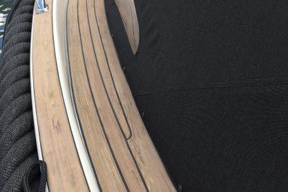 Seafury with a Flexiteek 2G deck in Walnut with black caulking.