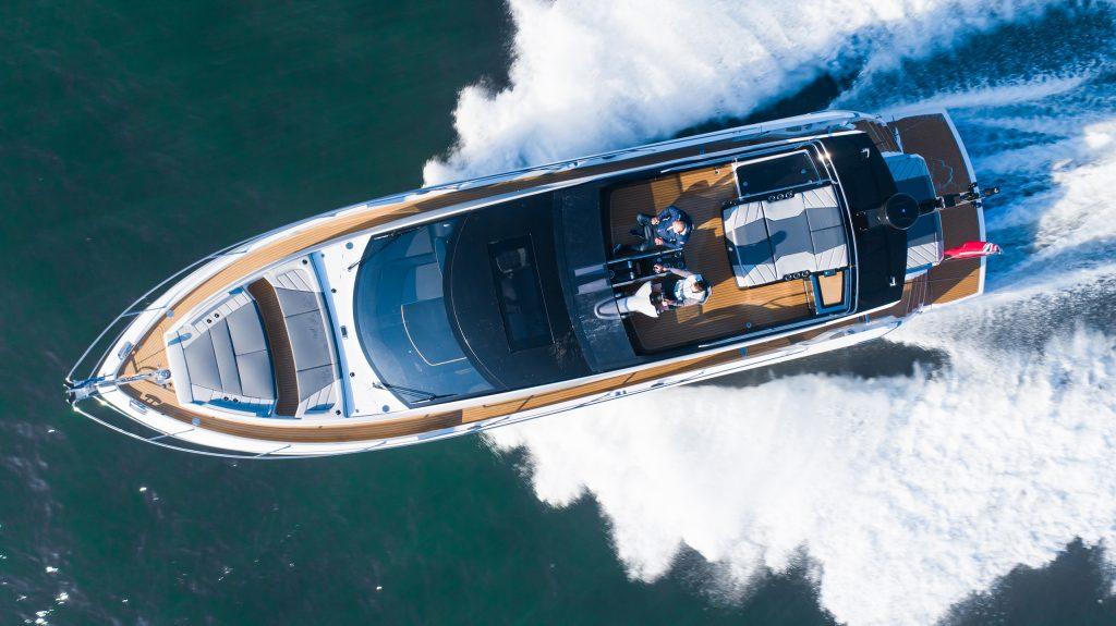 Flexiteek 2G synthetic teak in Teak completes the sporty look of the Sunseeker 65 Sport Yacht