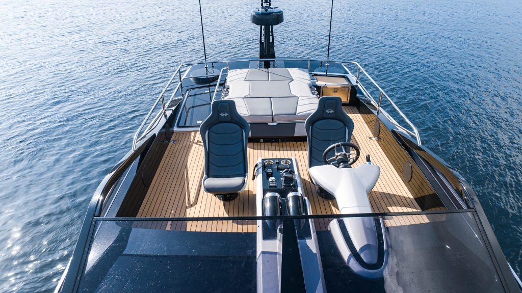 Sunseeker 65 Sport Yacht featuring Flexiteek 2G synthetic teak in Teak with Black caulking.